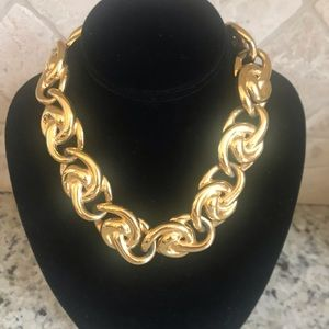 Anne Klein Vintage Chunky Bling Gold Necklace